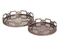 "This tray set features an open work decorative edge that surrounds a mirrored surface. The entire frame is then finished in an antique pewter. The mirrored surface features an acid treatment to give the piece a glamorous aged look. A large and small tray is included in the set. From contemporary, to Art Deco; from Transitional to a Traditional look, plus everything in between this tray set will beautifully fit right in.  Measurements: 20"" dia x 3"" / 16"" dia x 3"""