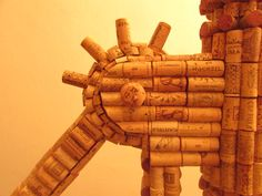 Detail - Giant corkscrew made from recycled wine corks