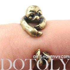 3D Sloth Animal Wrap Around Hug Ring in Bronze - Sizes 5 to 10 $12.50