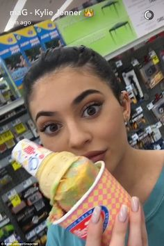 Why not? She also posted a Snapchat photo of her holding a tasty-looking ice cream cone she apparently bought as well