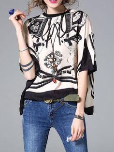 Shop Blouses - Khaki Printed Batwing Blouse online. Discover unique designers fashion at StyleWe.com.