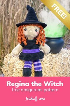 Regina the Witch Free Amigurumi Pattern via Happy Halloween! 'Witch' way to the candy? Get into the Halloween spirit with this adorable and FREE witch amigurumi pattern. Crochet Pour Halloween, Halloween Crochet Patterns, Halloween Toys, Crochet Amigurumi Free Patterns, Free Crochet, Happy Halloween, Crochet Fall, Holiday Crochet, Crochet Crafts