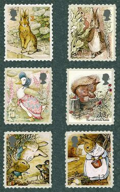 Brief biography of Beatrix Potter British author and illustrator of beloved children's books, including Peter Rabbit. Beatrix Potter Illustrations, Beatrice Potter, Peter Rabbit And Friends, Children's Book Illustration, Stamp Collecting, Mail Art, Postage Stamps, Uk Stamps, Royal Mail Stamps