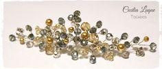 Tocados para invitada, hecho con cristales en los tonos del vestido Novias, Bodas, Tocados