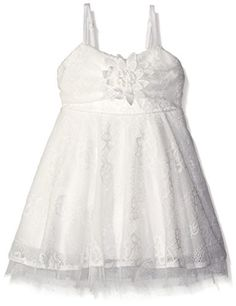 Le Pink Little Girls Lace Skater Skirt Dress with Bow  Crochet Floral Off White 4T -- Visit the image link more details.