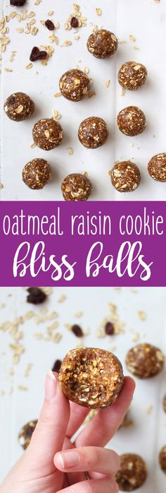 Oatmeal Raisin Cookie Bliss Balls make for a yummy little snack or pick-me-up during the day! This recipe is vegan and made with four simple ingredients.