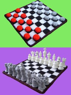 Free knitting pattern for Chess and Checkers - Clare Scope-Farrell designed these boards and game pieces.