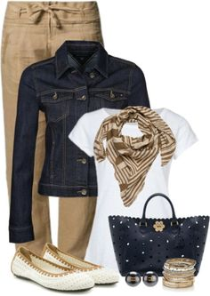"""Khaki and Blue"" by wishlist123 on Polyvore"