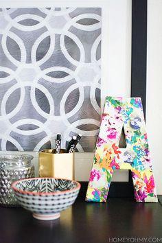 DIY Floral Monogram - Homey Oh My!