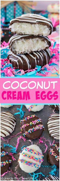 Coconut Cream Eggs - a homemade coconut filling shaped into an egg and dipped in chocolate makes a fun homemade Easter candy! Great for filling holiday baskets with!: