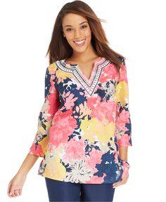 Charter Club Beaded Floral Linen Tunic - Tops - Women - Macy's