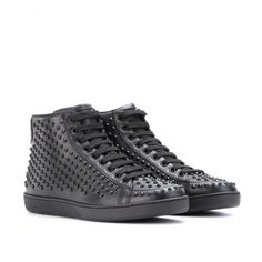 Designer Clothes, Shoes & Bags for Women Studded Sneakers, Gucci Sneakers, Leather Sneakers, High Top Sneakers, Shoes Sneakers, Studded Leather, Gucci Black, Shoes Online, Converse