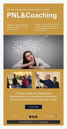 2020 - Curso inicial de Programação Neurolinguística e Coaching  PNL&Coaching Coaching, Clinic, Train, App, Emotional Intelligence, February, Initials, January, Psicologia