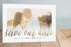 Big News Foil-Pressed Save the Date Cards by roxy at minted.com