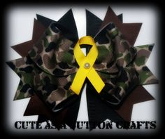 Beautiful camo support our troops hair bow by tootoocute4you, $7.50