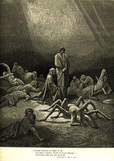 Arachne in Gustave Doré's illustration for Dante's Purgatorio of the Divine Comedy series.