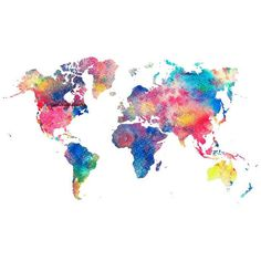 Abstract Colorful Rainbow World Map Art Print Giclee ❤ liked on Polyvore featuring home, home decor, wall art, abstract wall art, giclee painting, map wall art, colorful abstract paintings and colorful wall art