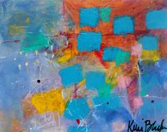 Naive Art Small Abstract Painting Colorful by kerriblackmanfineart