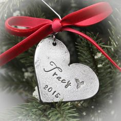 Heart Personalized Hand Stamped Christmas Ornament in Pewter by TracyTayanDesigns on Etsy