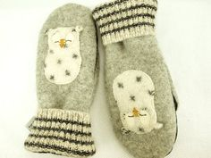 Upcycled Felted Wool mittens $36