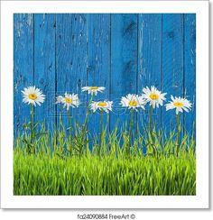 Free art print of Spring grass. Spring grass and flowers on a fence Garden Fence Art, Garden Mural, Backyard Fences, Diy Fence, Fence Ideas, Garden Crafts, Garden Projects, Flower Mural, Easter Garden