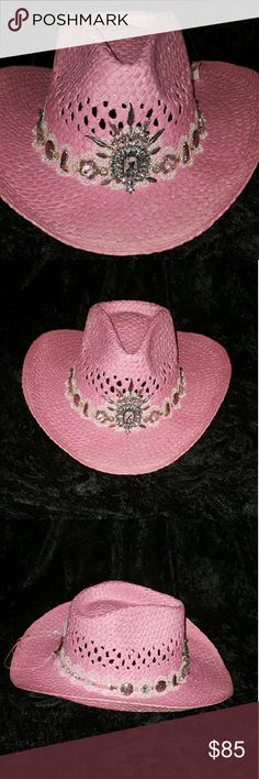 Rhinestone cowgirl hat Pink country and western hat with boots, feathers, arrows, stars, medallions, rhinestone and Swarovski crystals on lace band. Because every cowgirl needs some bling! This custom hat won't last long. Check out my closet for more styles. Cowgirl Gilding Accessories Hats