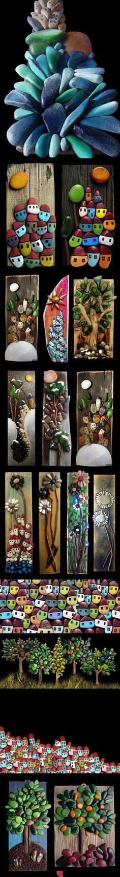scrap wood + old sticks + smooth pebbles + paint & glue = fab art