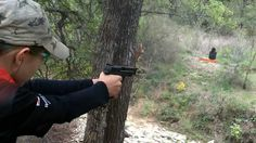 13 years old girl shooting with 3 weapons