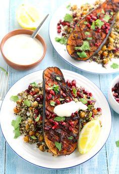 Harissa Roasted Aubergine with Chickpeas & Quinoa