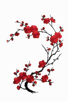 [Single Count ] Custom and Unique by 10 Inches) Mother Nature Quince Sakura Flower Iron On Embroidered Applique Patch {Redand Black} Blossom Tree Tattoo, Cherry Blossom Art, Blossom Flower, Art Japonais, Flower Tattoos, Asian Art, Japanese Art, Cute Art, Flower Art