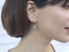 Your place to buy and sell all things handmade Mini Hoop Earrings, Bridal Earrings, Gemstone Earrings, Etsy Earrings, Statement Earrings, Earrings Handmade, Dangle Earrings, Turquoise Gemstone, Turquoise Earrings