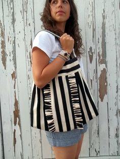 Black and White striped ruffled tote