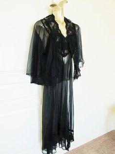 Vintage schwarze Peignoir Negligé ' Dessous Nachthemd von JLVintage