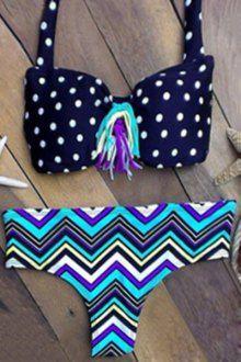 Tassels Wavy Print Straps Bikini Set