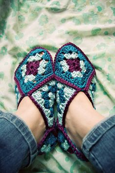 granny square slippers- my Granny Bo used to make these for all us grandkids when we were young
