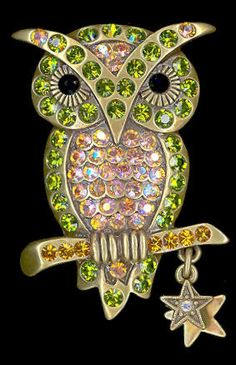 Kirks Folly Owl on A Branch Pin Olivine Topaz Crystals Star Charms