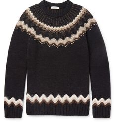 VALENTINO Slim-Fit Studded Fairisle Wool And Alpaca-Blend Sweater. #valentino #cloth #knitwear