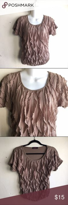 Detailed Top Light brown / beige top with small ruffle details. Front of top can be slightly see through. Elastic band at bottom of top along waist line. Perfect condition! #FB003 Annabelle Tops Tees - Short Sleeve
