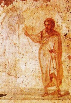 Moses brings water from the rock, Catacomb of Sts. This was originally the cemetery for the Emperor's guards, but it later held the bodies of the many Christians martyred during Diocletian's persecution Ancient Rome, Ancient History, Art History, Early Christian, Christian Art, Fresco, The Catacombs, Byzantine Icons, Orthodox Icons