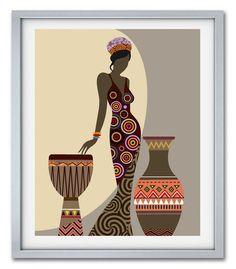 African Woman Art, Black Girl Wall Decor Painting in 2020 Arte Tribal, Tribal Art, African American Art, African Women, African Wall Art, African Art Paintings, Office Prints, Africa Art, Black Women Art