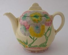 Fabulous Wilkinson (Clarice Cliff) Teapot - Pink Pearls Pattern - Art Deco
