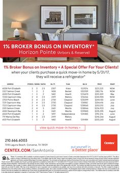 New Homes for Sale in San Antonio, Texas  1% Broker Bonus on Inventory Homes at Horizon Pointe  Broker's Welcome  |   Special Offer for Clients   https://www.centex.com/sitecore/content/centex/centex-home-page/homes/texas/the-san-antonio-area/converse/horizon-pointe-209599#.VnnHqvFOUUE