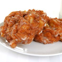 A Delicious apple fritter recipe, That is covered with a sweet glaze.