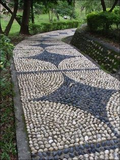 Garden, Simple Pattern Of Pebble Garden Path Design But Still Look Wonderful Bautify Modern Garden Concept That Equipped With Existence Of Shade Trees 476: Enhance Your Garden with Gorgeous Pebble Path Designs