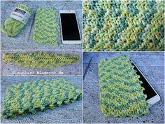 Häkelhülle für Smartphone   Sternenmuster   Crochet pouch for smartphone   Star stitch pattern