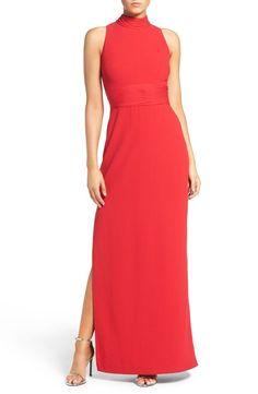 Aidan Mattox Chiffon High Neck Sleeveless Gown - Garnet Red