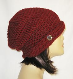 "flipped side brim slouch,beanie,hat,cap,decorated with button,made to fit teens & adults 21-23"", dark red by Jeniebugs on Etsy"