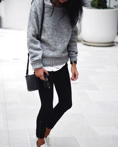 Fall trends   Grey sweater over white t-shirt, black skinny pants, white sneakers and a purse