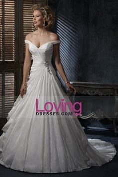 Chic A Line Off The Shoulder Wedding Dresses Court Train Organza USD 241.99 LDP4ZCAYG3 - LovingDresses.com