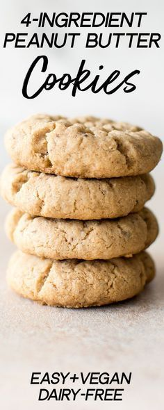 Easy Vegan Peanut Butter Cookies (Only 4 Ingredients!) These vegan peanut butter cookies are soft, easy, and have only 4 ingredients! This is the best eggless peanut butter cookie recipe. A quick homemade small batch recipe. Quick Healthy Desserts, Delicious Cookie Recipes, Easy Cookie Recipes, Yummy Cookies, Healthy Food, Vegan Cookie Recipes, Ginger Cookies, Homemade Cookies, Quick Recipes
